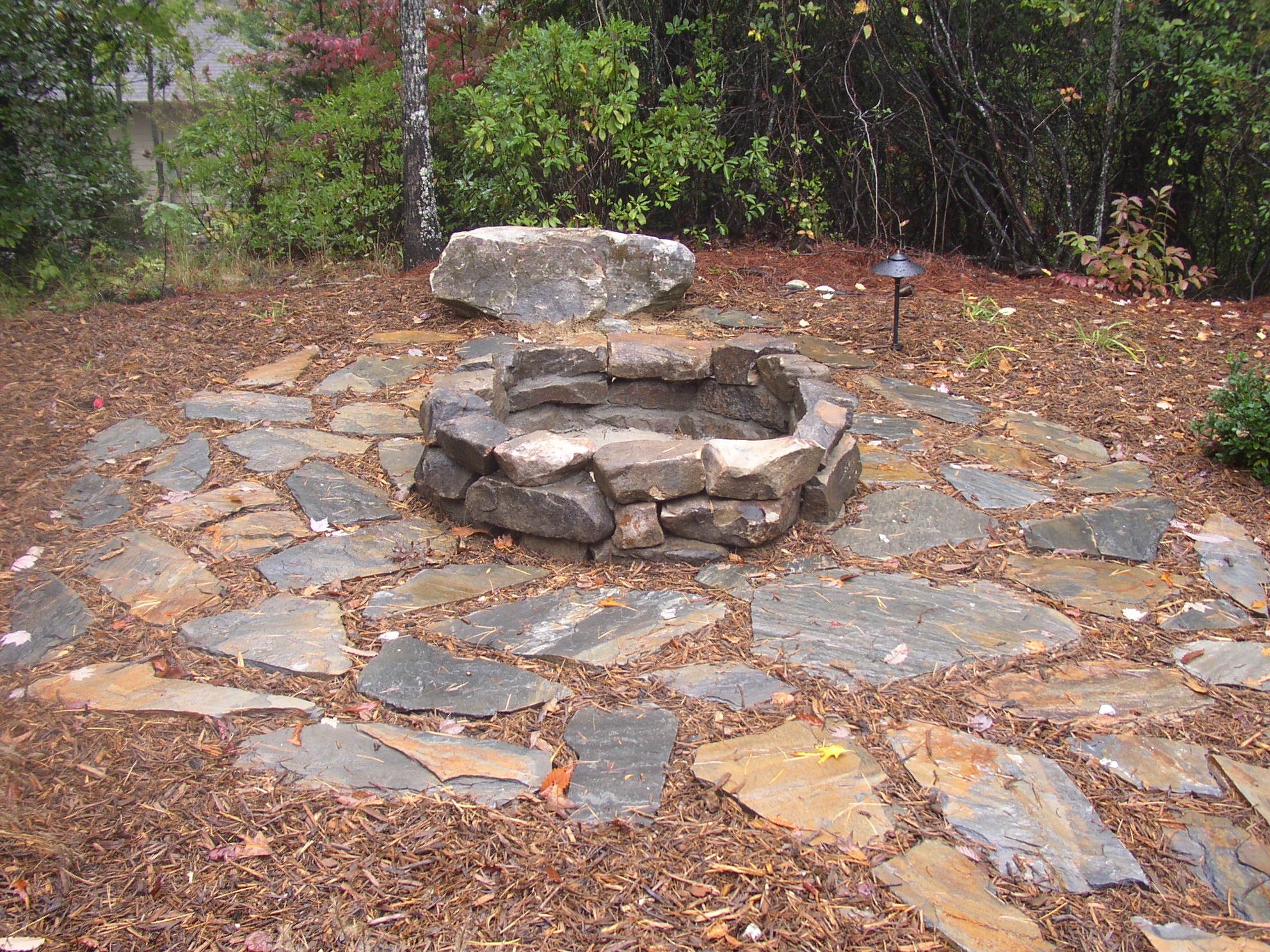 Boulder Fire Pit and Flagstone