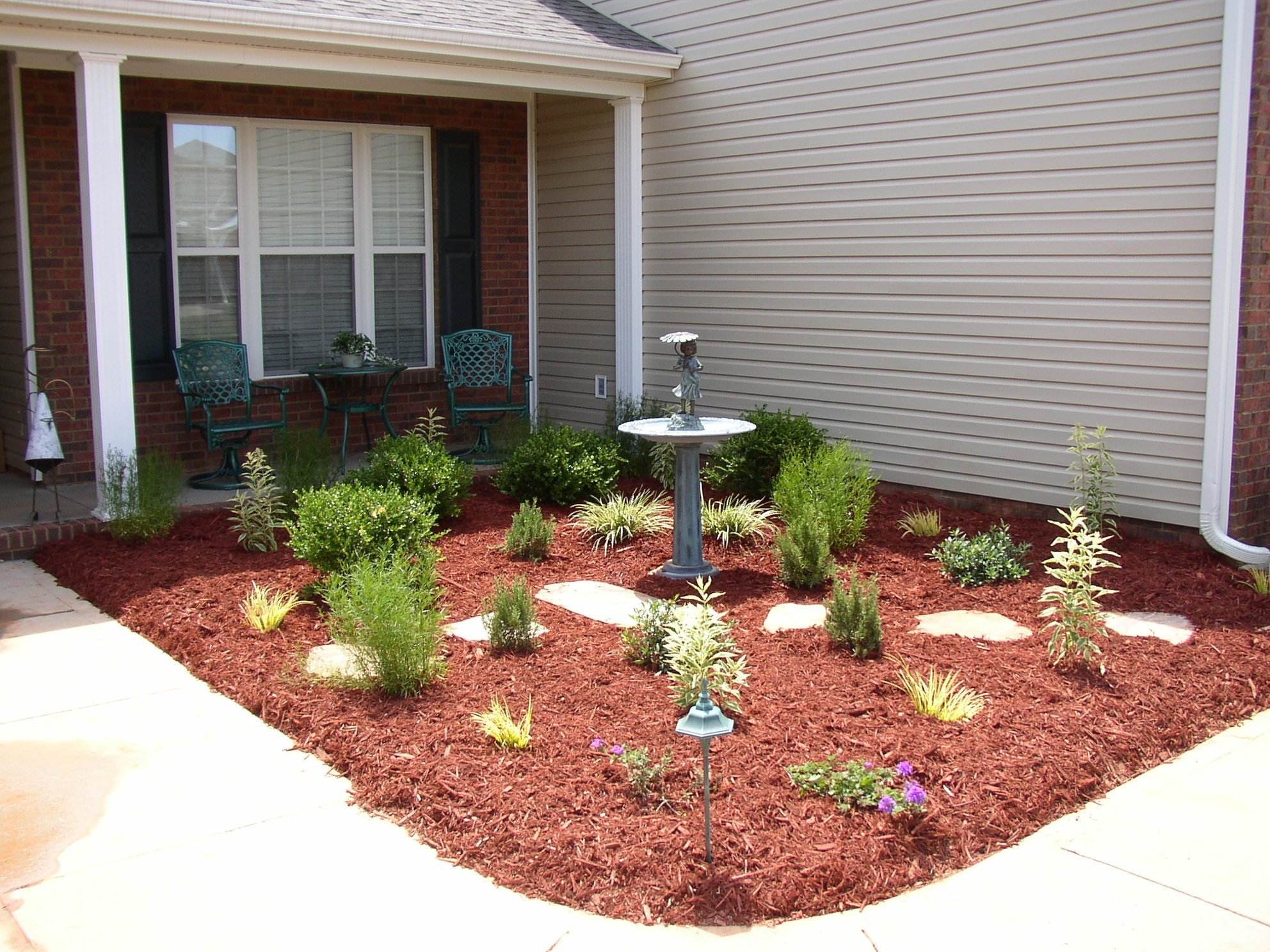 Water Fountain, Plants, Flagstone Steppers, Mulch