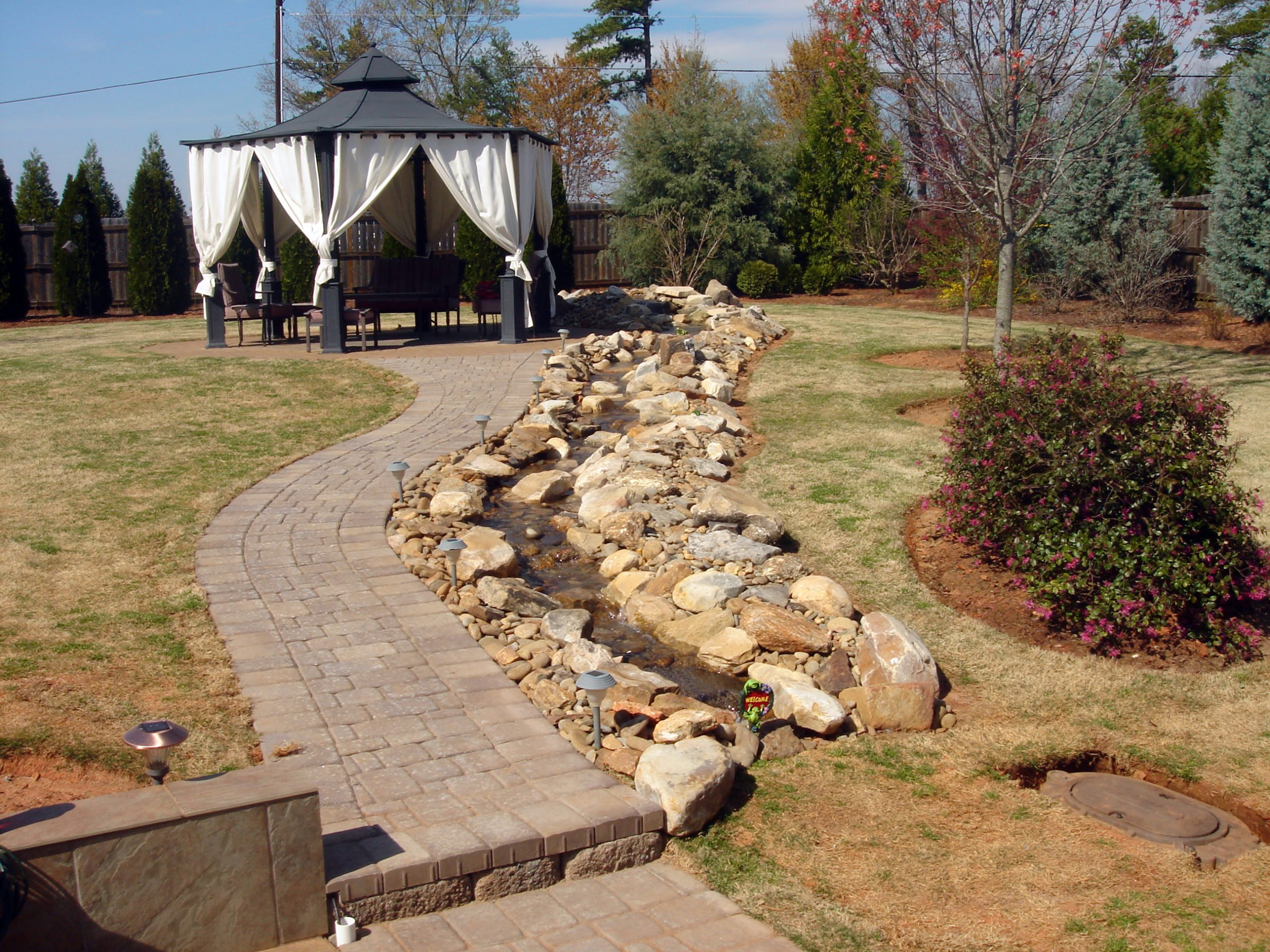 Paver Walkway, Water Feature, Arbor, Paver Patio